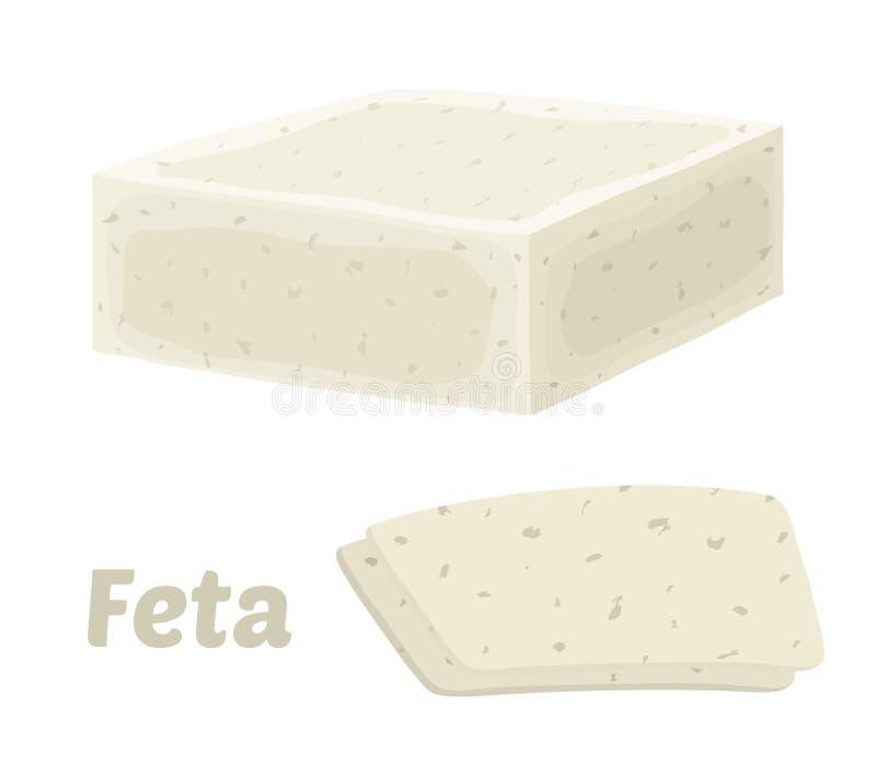 Bloco do queijo de feta do vetor, parte do triângulo Fatia, pedaço Estilo liso dos desenhos animados ilustração stock