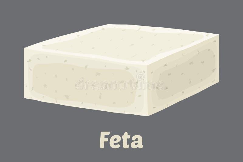 Bloco do queijo de feta do vetor Pedaço no estilo liso dos desenhos animados ilustração do vetor