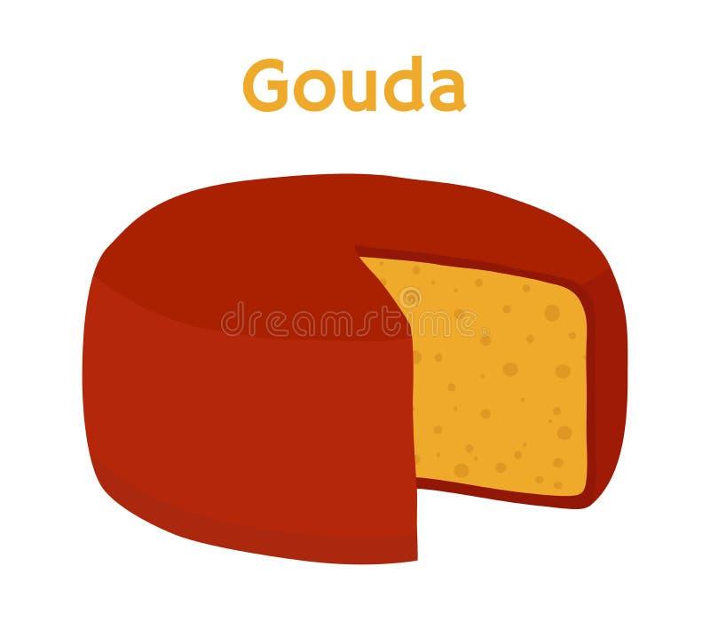 Bloco do queijo de Gouda do vetor Fatia, pedaço Estilo liso dos desenhos animados ilustração do vetor