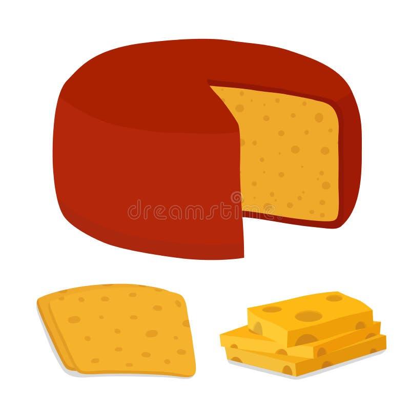 Bloco do queijo de Gouda do vetor, parte Fatia, pedaço Estilo liso dos desenhos animados ilustração stock