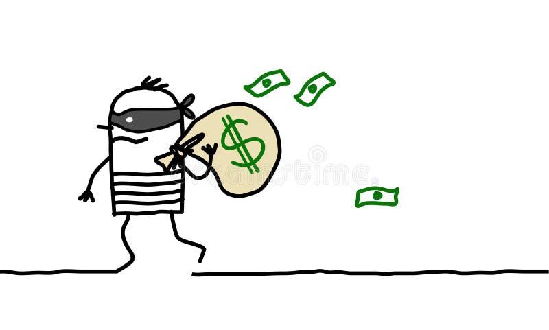 Bloco do salteador e do dólar ilustração stock
