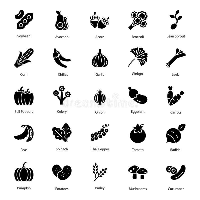 Bloco do vetor dos ícones dos vegetais ilustração stock