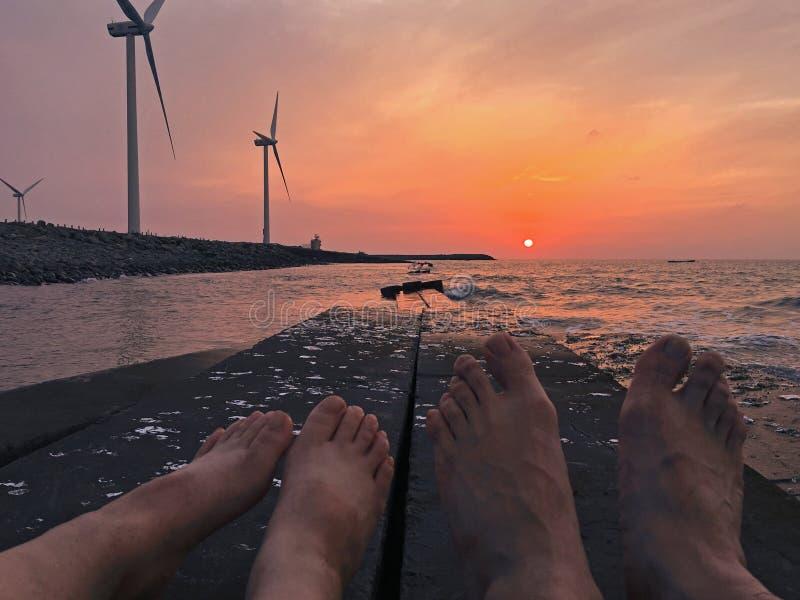 Bloco do Wavelet, uma praia no POR DO SOL industrial de Zhangbin ZoneBEAUTIFUL imagem de stock