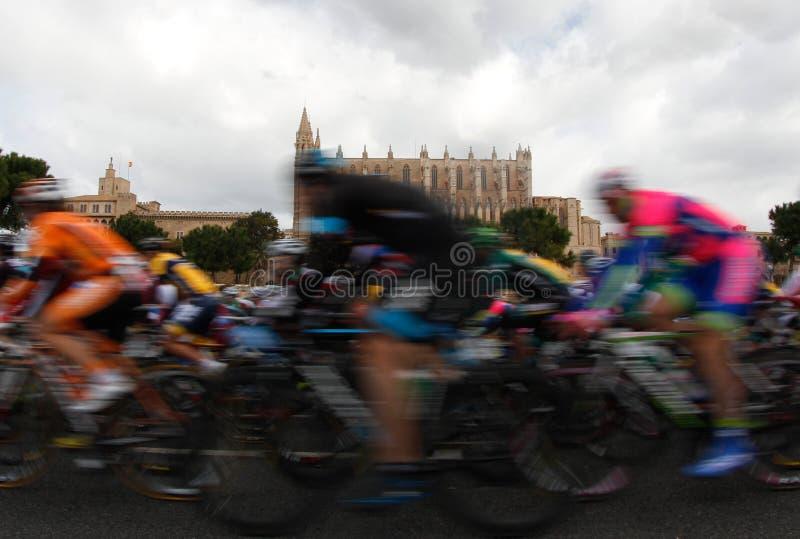 Bloco dos cavaleiros que passam ao lado da catedral de Palma de Maiorca foto de stock
