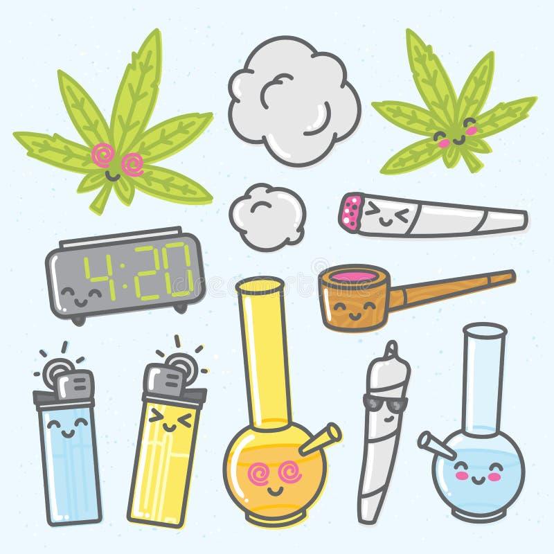 Bloco dos objetos do vetor dos desenhos animados do kawaii da marijuana ilustração royalty free
