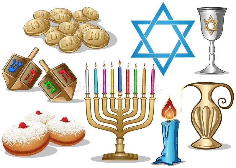Bloco dos símbolos de Hanukkah ilustração royalty free