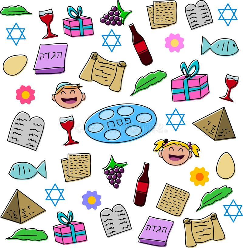 Bloco dos símbolos do feriado da páscoa judaica ilustração royalty free