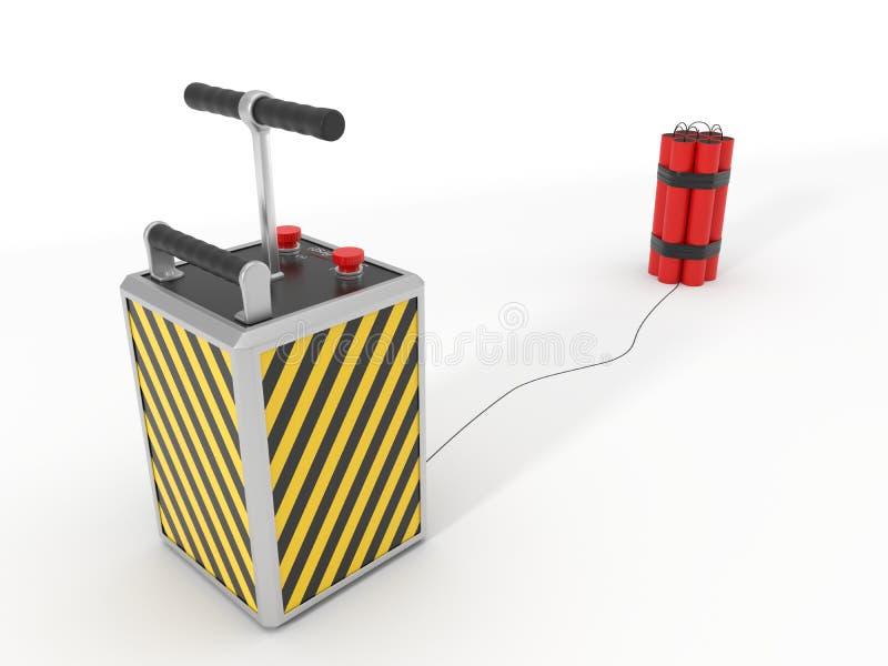 Bloco e detenator da dinamite ilustração 3D ilustração do vetor