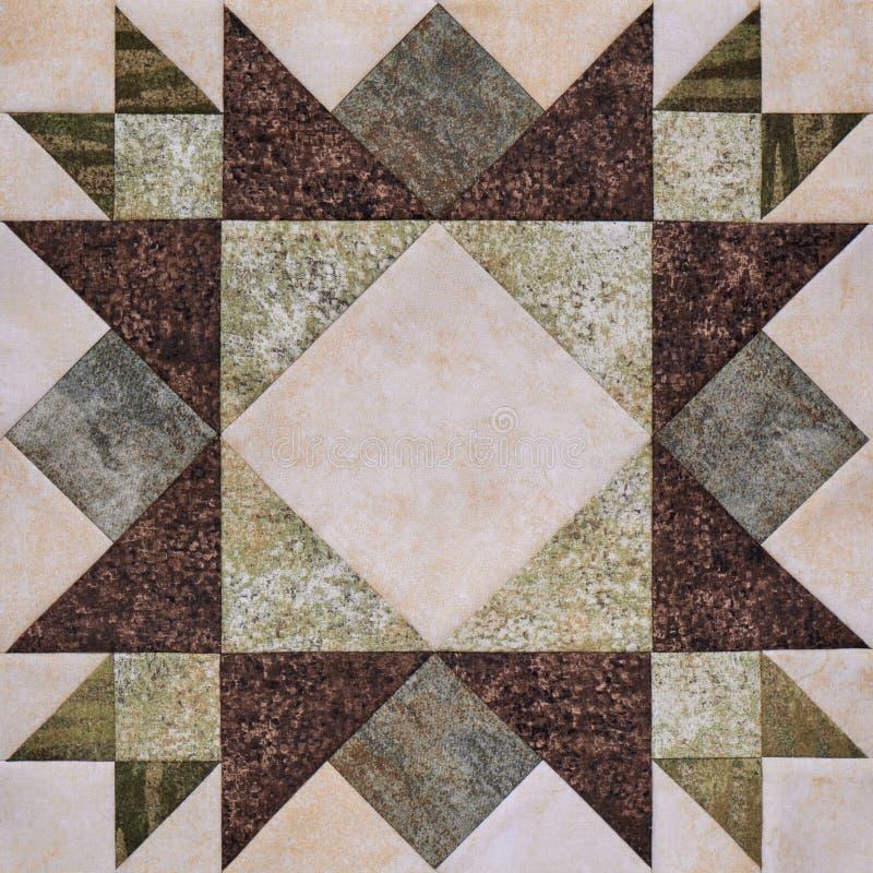 Bloco geométrico das partes de telas, detalhe dos retalhos de edredão fotografia de stock royalty free