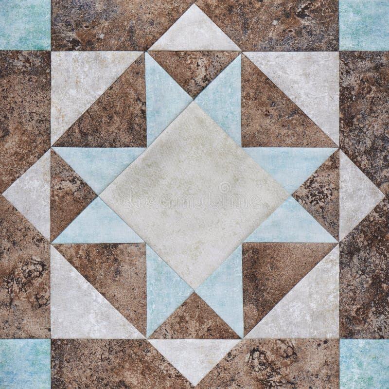 Bloco geométrico das partes de telas, detalhe dos retalhos de edredão imagem de stock