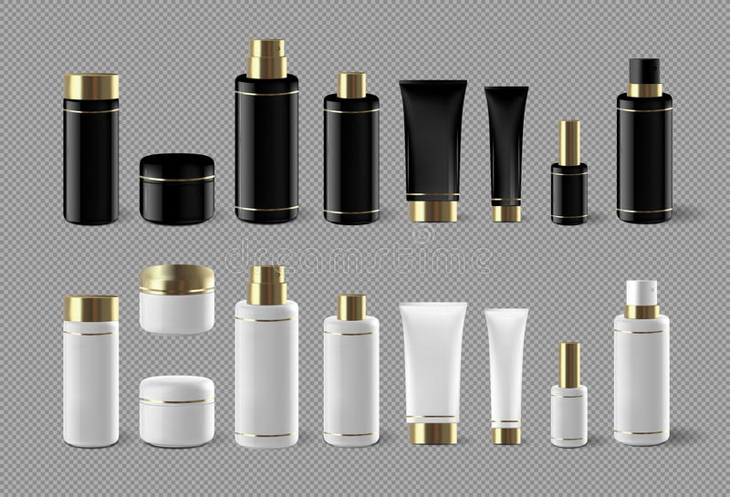 Bloco isolado configurado cosmético realístico da zombaria da garrafa no fundo branco Molde cosmético do tipo Bloco do champô ilustração stock