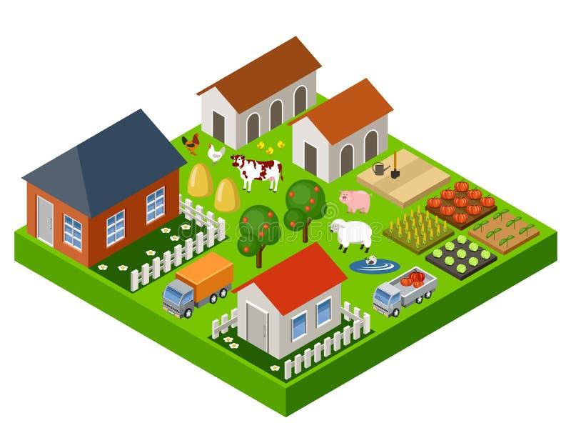 Bloco isométrico do brinquedo da exploração agrícola Isolado Elementos do mapa Ilustração do vetor ilustração royalty free