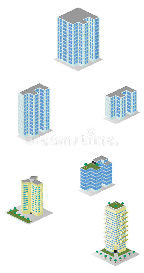 Bloco isométrico dos prédios de apartamentos da cidade imagens de stock