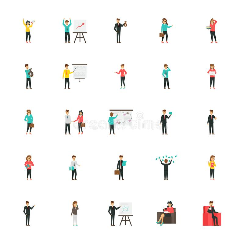 Bloco liso dos ícones dos caráteres do negócio ilustração stock