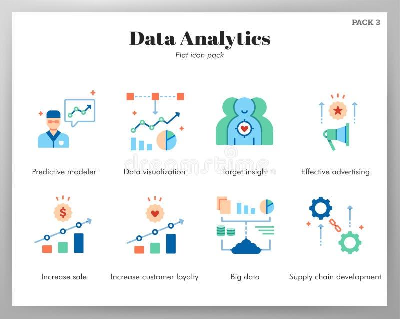 Bloco liso dos ícones da analítica dos dados ilustração stock