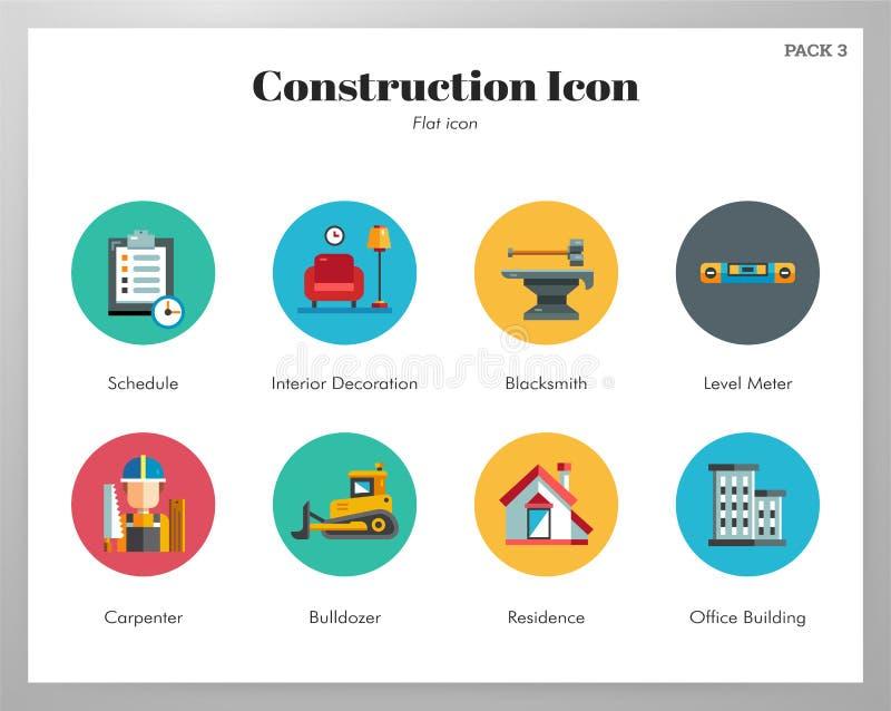 Bloco liso dos ícones da construção ilustração do vetor