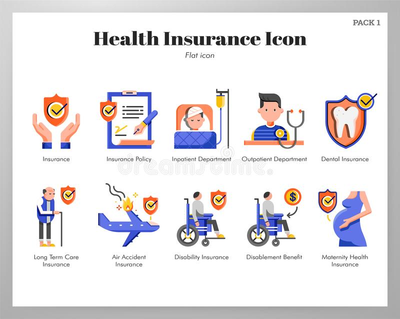 Bloco liso dos ícones do seguro de saúde ilustração stock