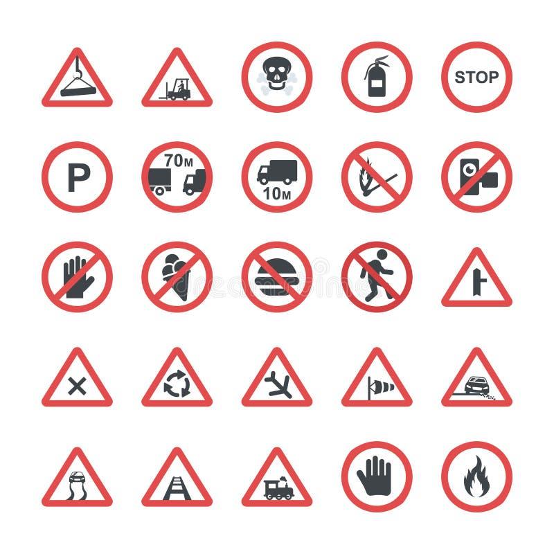 Bloco liso dos ícones dos símbolos do projeto ilustração do vetor