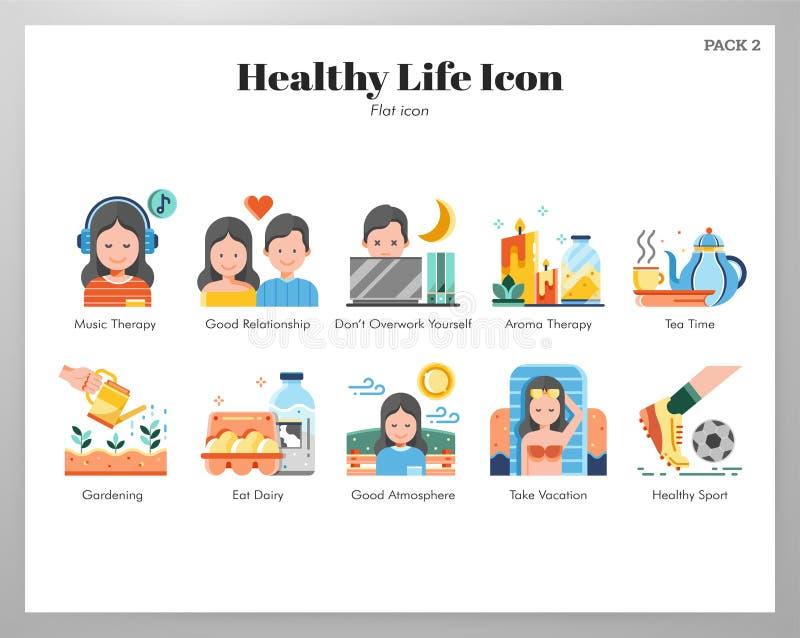 Bloco liso dos ícones saudáveis da vida ilustração do vetor