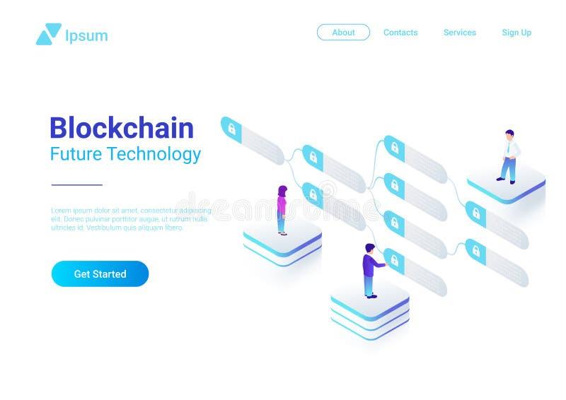 Bloco liso isométrico do vetor da tecnologia de Blockchain ilustração do vetor