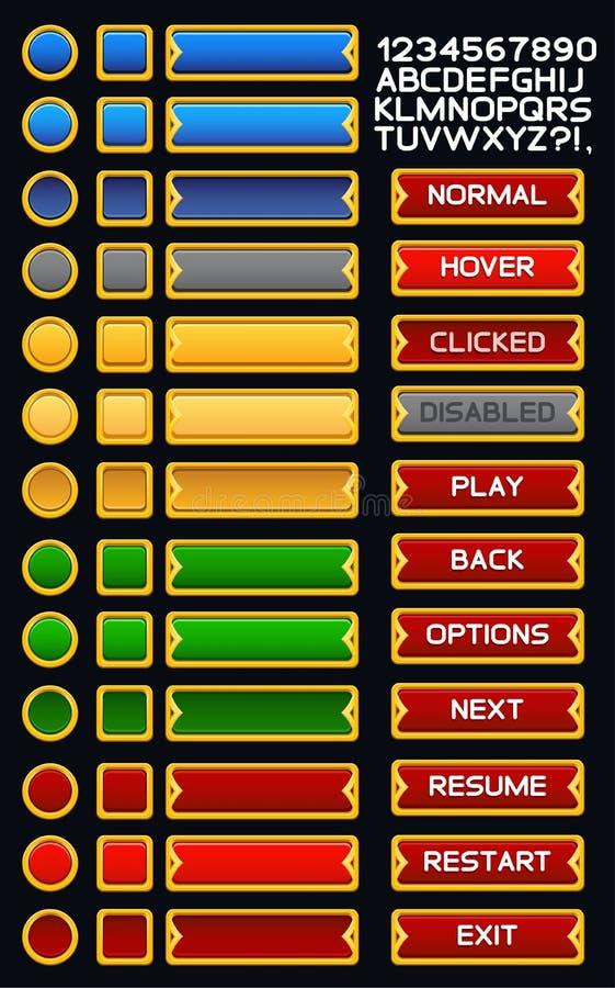 Bloco medieval dos botões do jogo ilustração royalty free