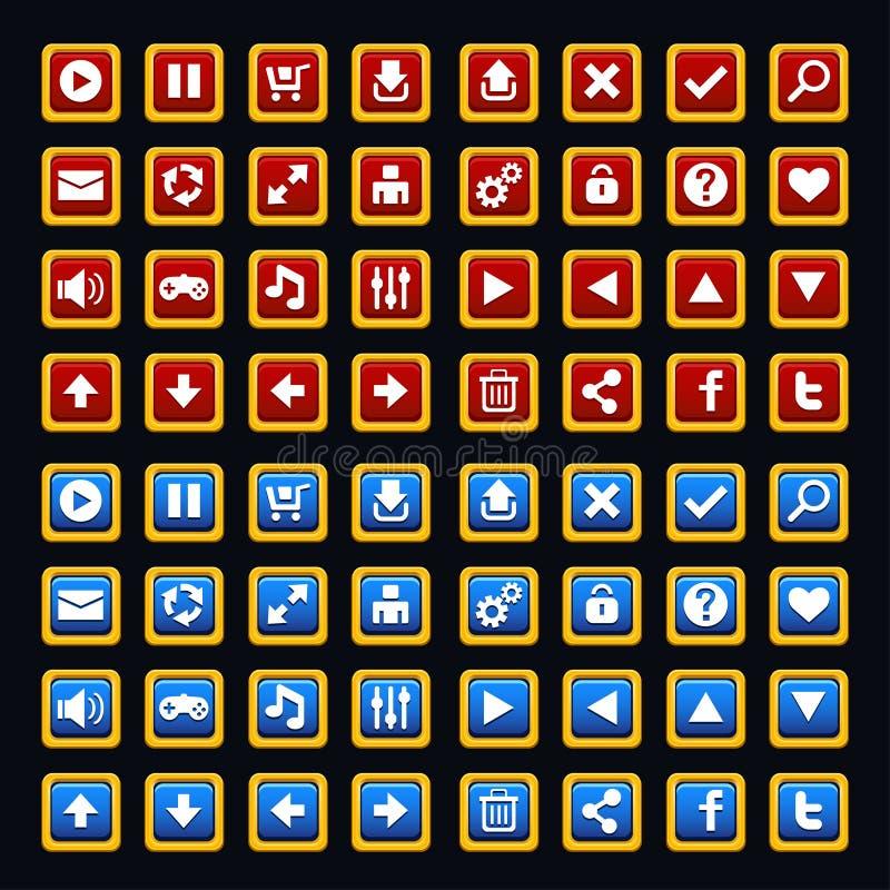 Bloco medieval dos botões do jogo ilustração do vetor