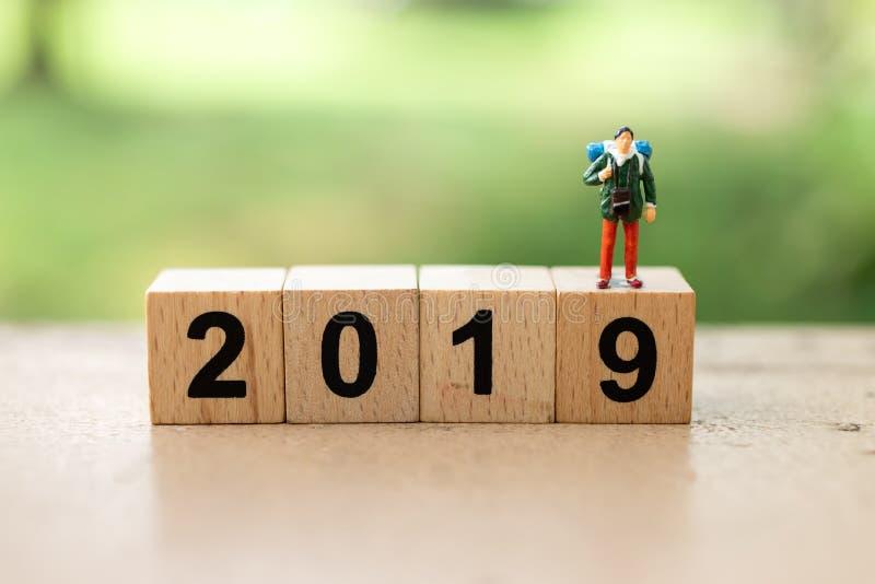 Bloco número de madeira 2019 Uso da imagem pelo ano novo feliz do fundo, conceito do negócio foto de stock royalty free