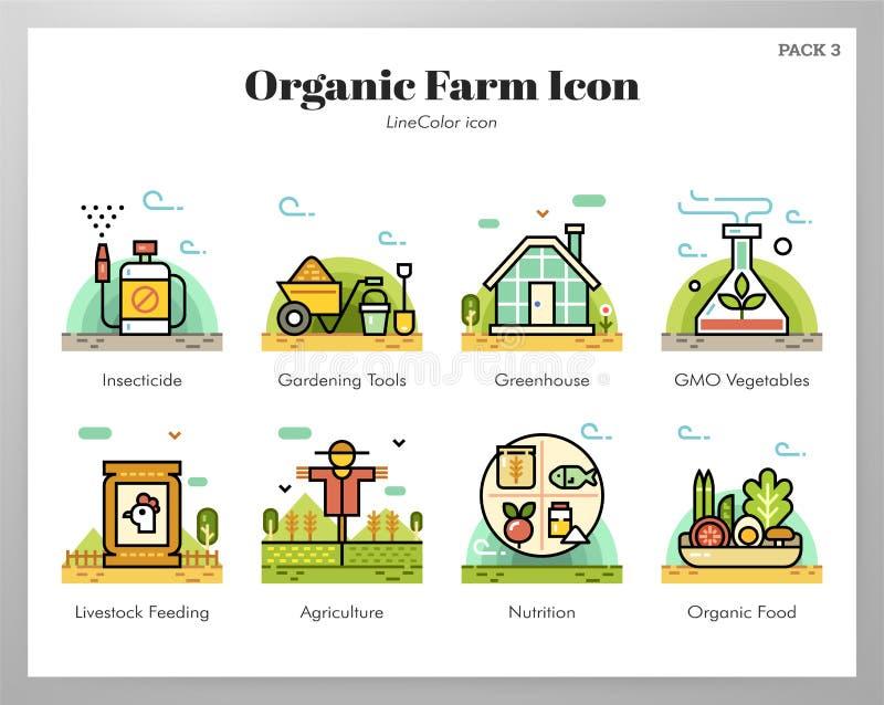 Bloco orgânico de LineColor dos ícones da exploração agrícola ilustração stock