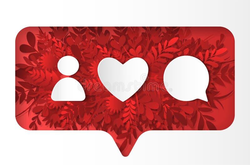 Bloco social dos ícones da rede Como, o comentário, followon que o vermelho planta, papel cortou o estilo ilustração stock