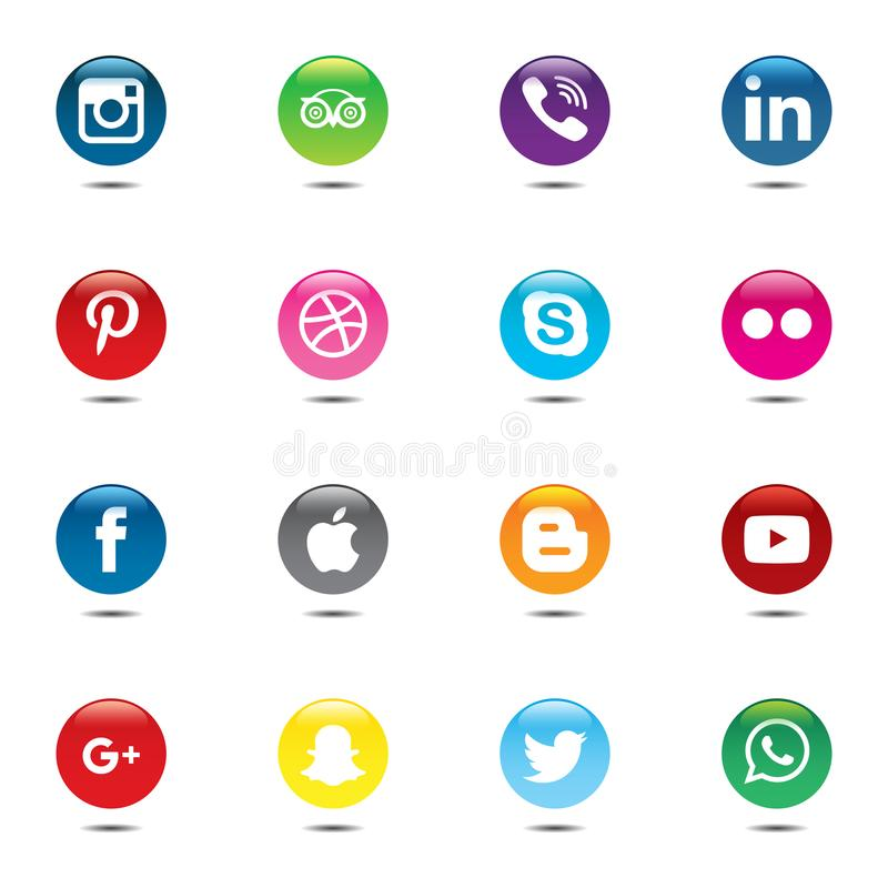 Bloco social dos meios Projeto bonito do círculo de cor para o Web site, molde, bandeira ilustração stock
