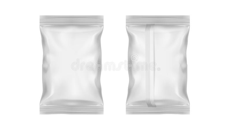Bloco transparente branco da folha para o petisco, as microplaquetas, os doces ou o outro alimento ilustração do vetor