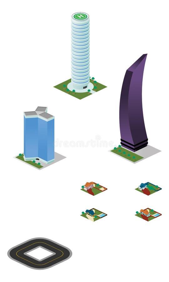 Bloco variado das construções e das casas da cidade isométrica imagem de stock royalty free
