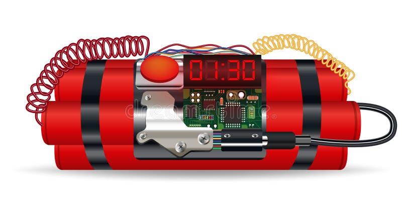 Bloco vermelho da dinamite com bomba-relógio elétrica ilustração royalty free