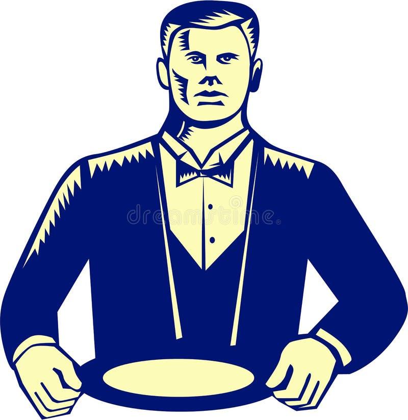 Bloco xilográfico de Cravat Serving Plate do garçom ilustração stock