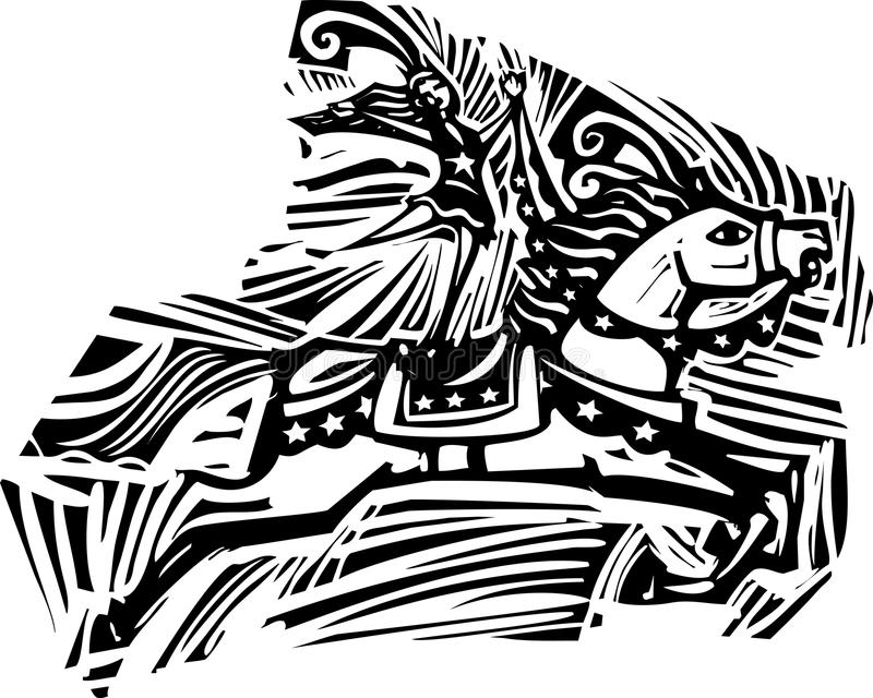 Bloco xilográfico do cavalo do circo ilustração stock