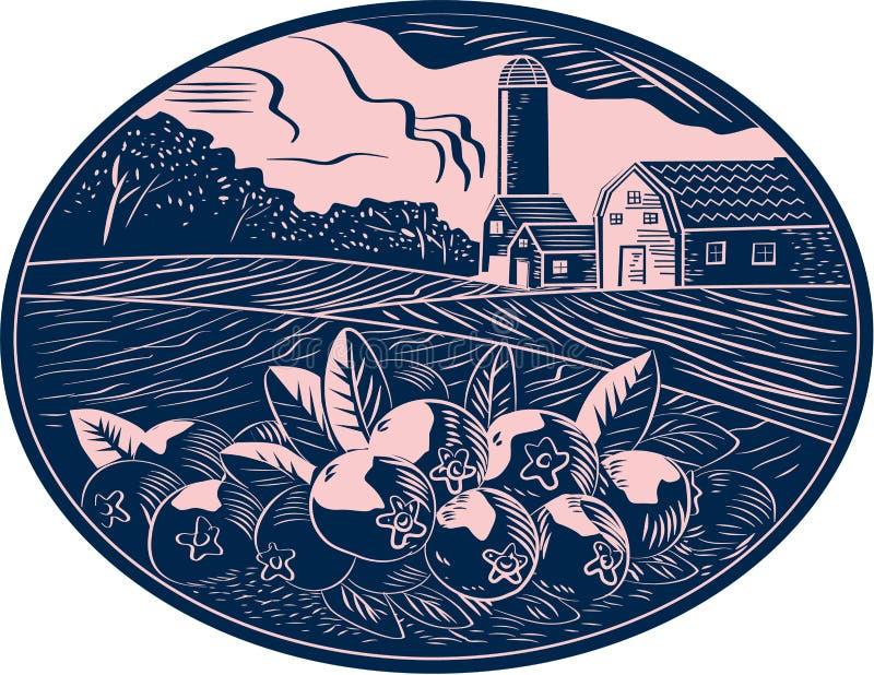 Bloco xilográfico do Oval da exploração agrícola do fruto do arando ilustração royalty free
