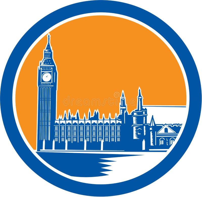 Bloco xilográfico grande de Ben Clock Tower Westminster Palace retro ilustração do vetor