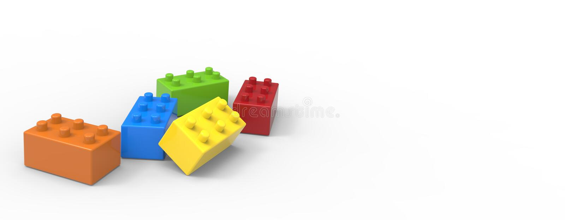 Blocos coloridos do brinquedo isolados no fundo branco foto de stock royalty free