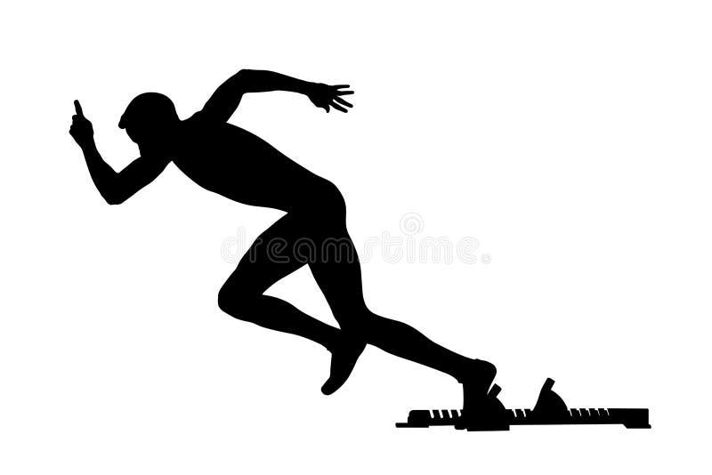 Blocos começar do corredor do atleta do começo ilustração royalty free