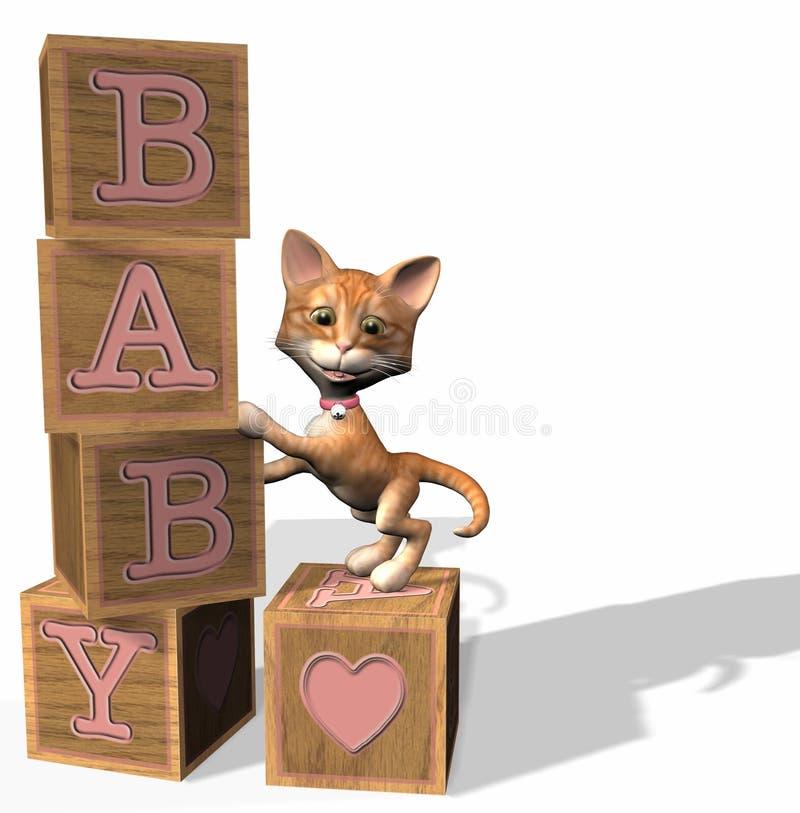 Blocos cor-de-rosa do bebê ilustração royalty free