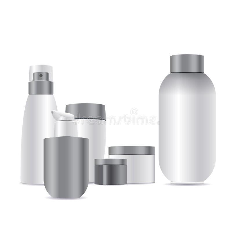 blocos da placa 3d Vector o modelo do empacotamento plástico branco limpo para cosméticos ilustração royalty free