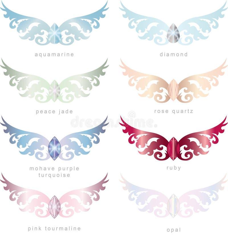 8 blocos de Gem Stones Angel Wings Vetora ilustração do vetor