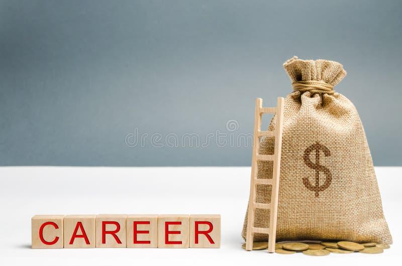 Blocos de madeira com a carreira da palavra, o saco do dinheiro e a escada habilidades do Auto-desenvolvimento e da liderança A e foto de stock royalty free