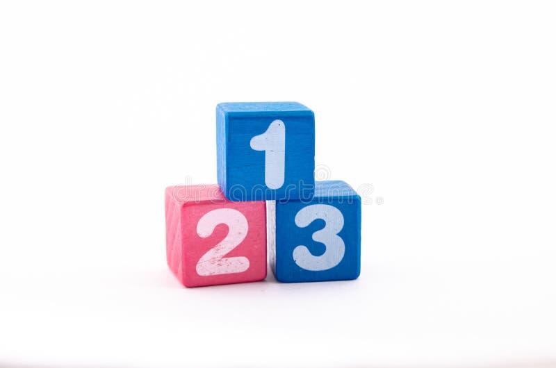Blocos de madeira com números 1 2 3 imagens de stock
