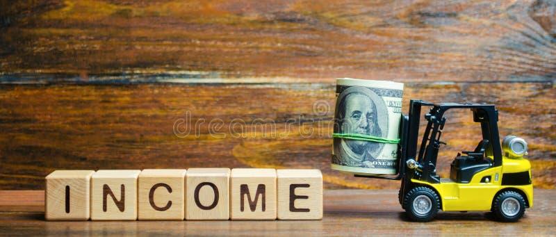 Blocos de madeira com a renda da palavra, dinheiro e uma empilhadeira r Retorno sobre o investimento Neg?cio rent?vel bem sucedid imagens de stock