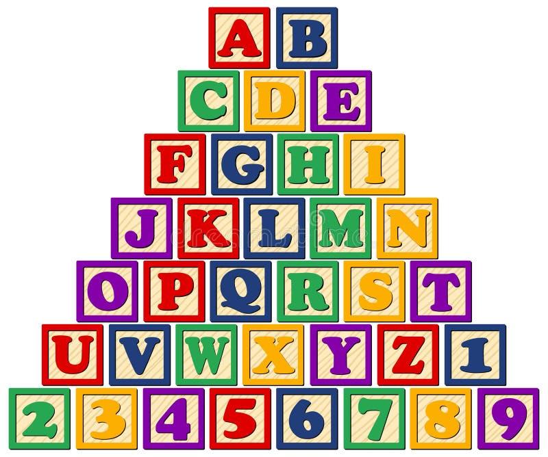 Blocos de madeira do alfabeto ilustração royalty free
