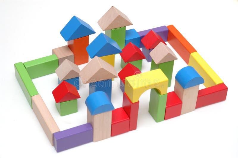Blocos de madeira do brinquedo imagens de stock