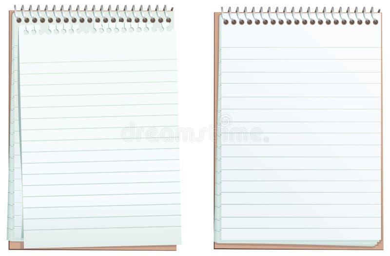 Blocos de notas alinhados do ringbound ilustração stock