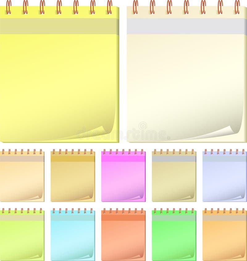 Blocos de notas da cor da coleção. ilustração do vetor