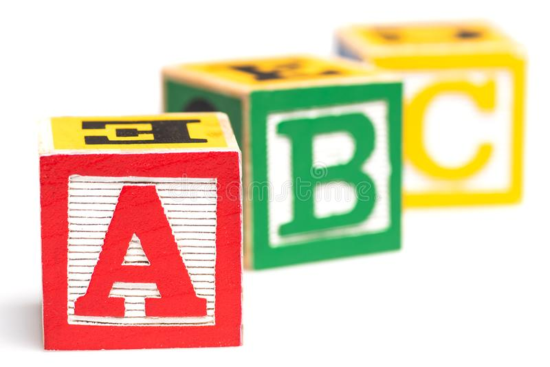 Blocos do alfabeto das letras de ABC fotografia de stock royalty free